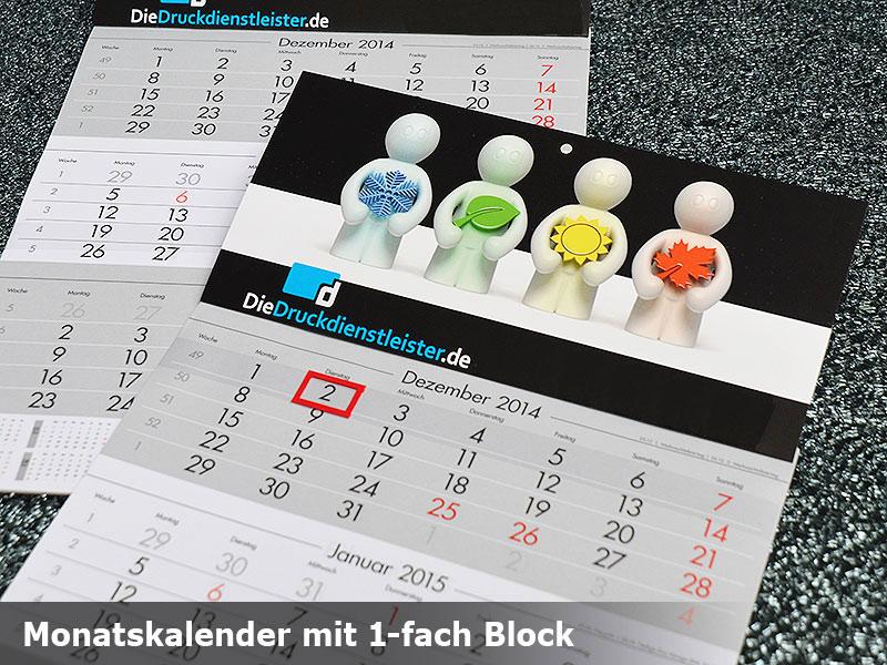 Monatskalender mit Datumsschieber