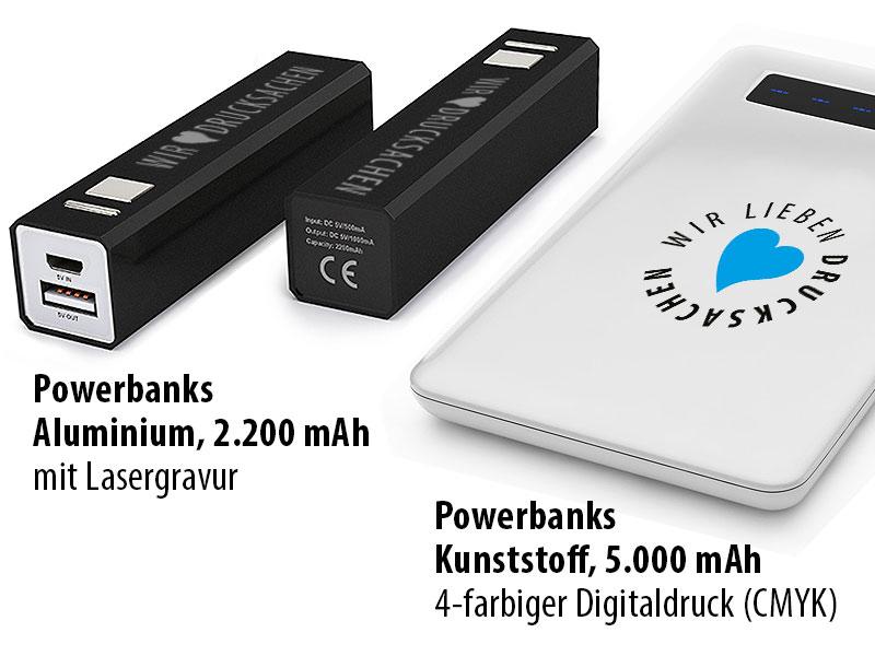 Powerbanks mit Druck oder Gravur