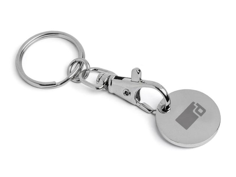 Schlüsselanhänger mit Einkaufswagen-Chip graviert
