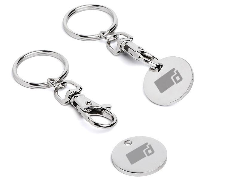Einkaufswagen-Chip Schlüsselanhänger mit Einkaufswagenchip inklusive Gravur