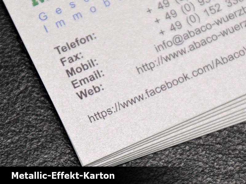 Klappvisitenkarten Effektkarton Drucken Schnell Günstig